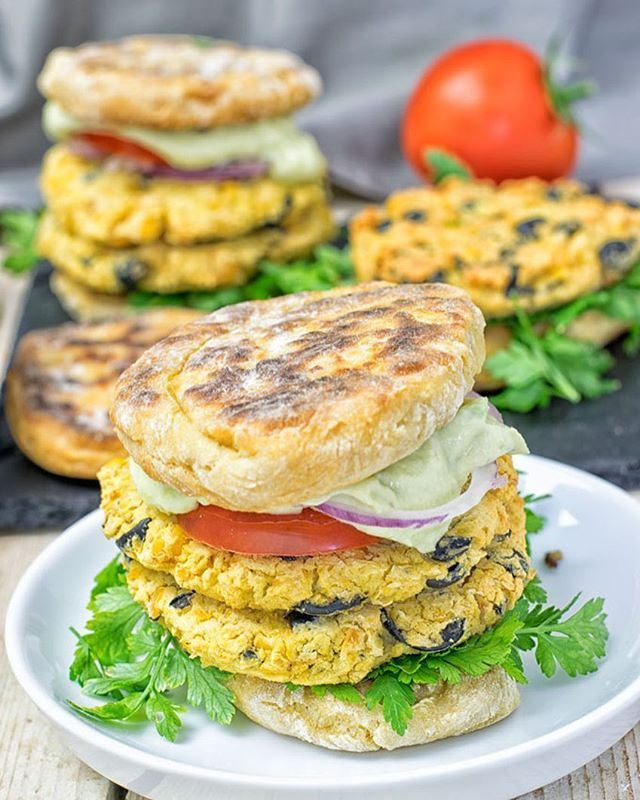 MEDITERRANEAN VEGAN BURGER by @contentednesscooking Recipe as posted on contentednesscooking.com: (serves 8, prep time 10 min, cook time 20 min)Ingredients: •For the Avocado Hummus Sauce: •1 avocado •4 cloves garlic, pressed •1/4 cup + 2 Tbs almond yoghurt •3/4 cup hummus •salt, pepper to taste •For the Burger: •2 Tbs sauce •2 cans chickpeas •6 cloves garlic •1 cup black olives chopped •salt, pepper to taste Instructions 1For the Avocado Hummus Sauce: 2Simply by combine hummus, garlic, almond yoghurt, and avocado. Season with salt and pepper, process until smooth. 3For the burger patties: 4Combine garlic, 2 Tbs of the Avocado Hummus Sauce, chickpeas in the bowl of a blender or food processor. Season with salt and pepper, and process until smooth but not creamy! Now mix in chopped olives, form patties, and fry or bake for around 20 minutes at 390°F. 5Use your favorite bun and top the burger with the Avocado Hummus Sauce and your favorite toppings.