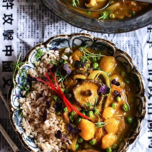 POTATO, PEA AND MUSHROOM CHINESE STYLE CURRY