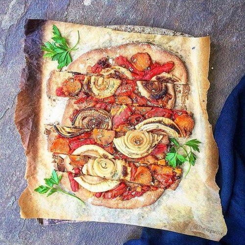 Roasted Local Onion, Tomato and Sweet Potato Pizza