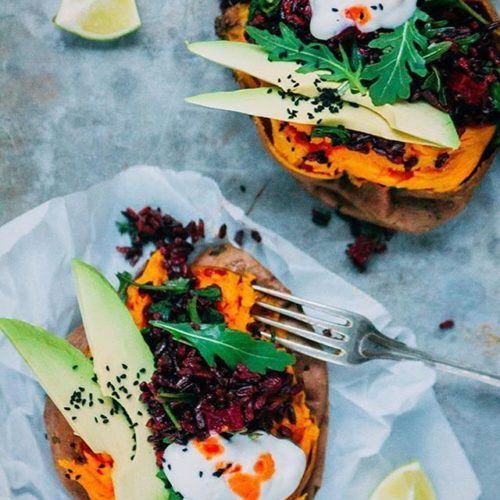 SWEET POTATO KUMPIR FILLED WITH BLACK RICE SALAD