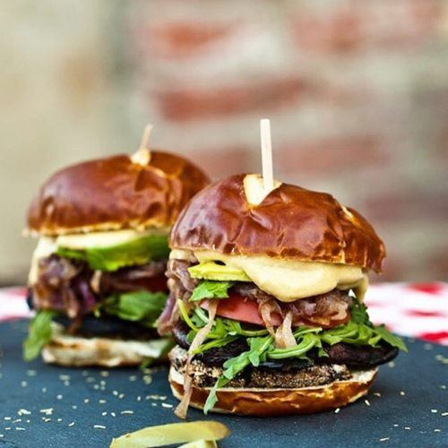 Smoky Portobello Black Bean Burgers with Roasted Garlic Aioli