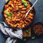 ROASTED PEPPER PASTA with CRISPY SPICED CHICKPEAS