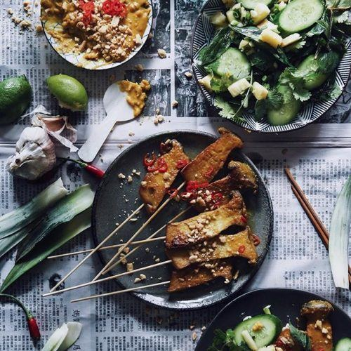Spicy Satay Mushrooms Skewers with Cucumber and Pineapple Salad
