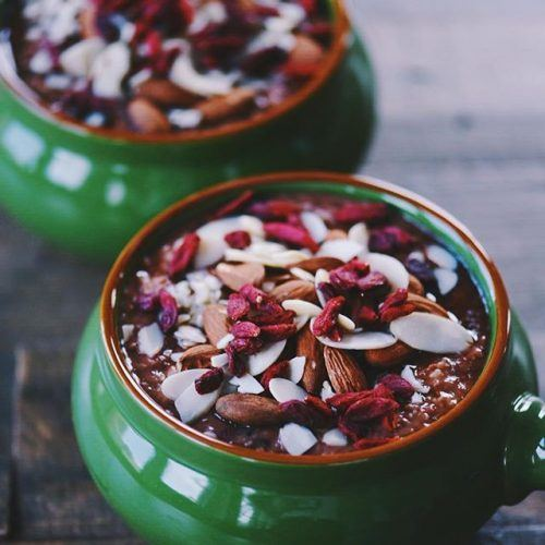Chocolate Cherry Oatmeal with Almonds and Goji Berries