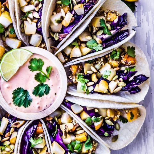 PURPLE CABBAGE + CRISPY BUTTERNUT SQUASH TACOS WITH PEARS + MAPLE SRIRACHA MAYO