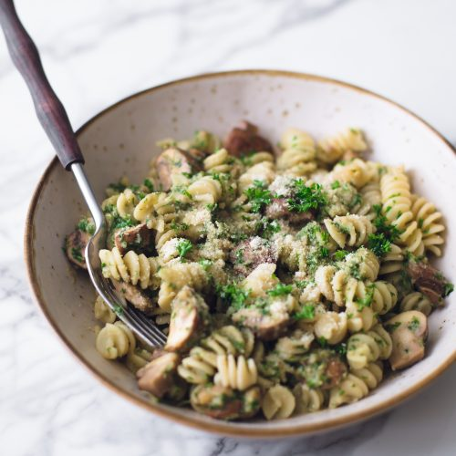 Vegan Mushroom Pasta With Chestnut Parsley Pesto