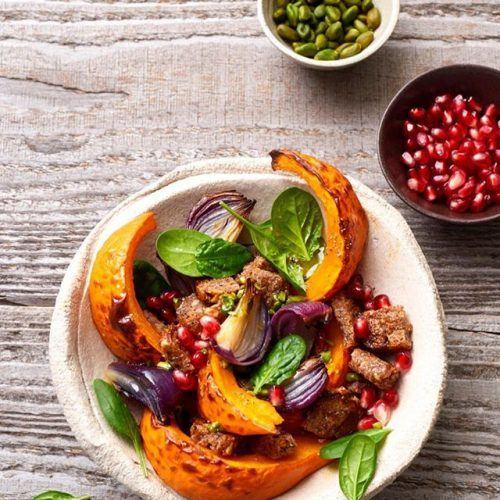 Pumpkin Bread Salad with Pomegranate