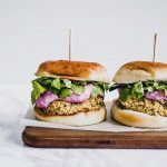 "Cranberry Falafel Burgers with Garlic Tahini ""Yogurt"" Sauce"
