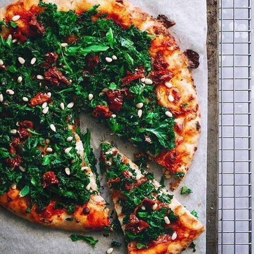 Kale and Pine Nut Pizza