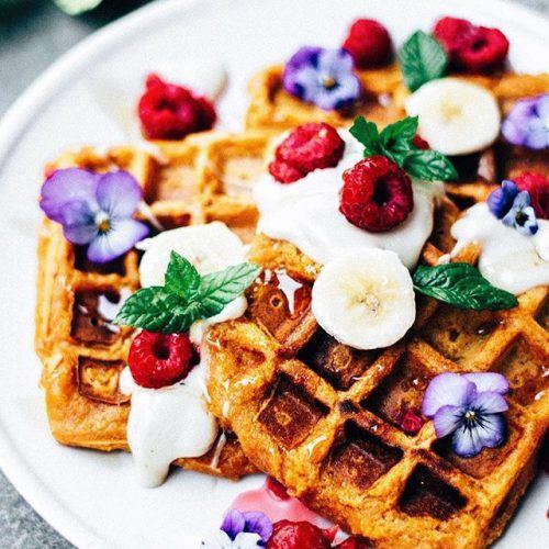 Sweet Potato Waffles With Cashew Cream