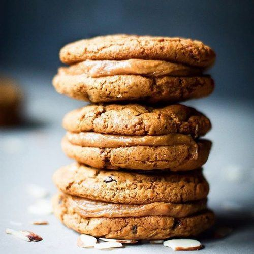 Chewy Roasted Almond Butter and Sultana Sandwich Cookie